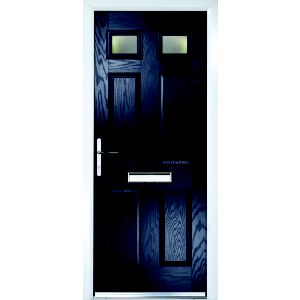 Image of Crystal 6 panel Frosted Glazed Navy blue Composite RH External Front Door set (H)2055mm (W)920mm