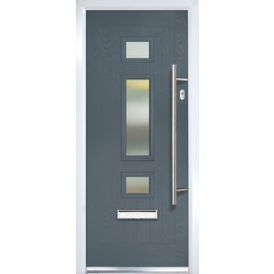 Image of Composite Grey PVCu & GRP Glazed External Front door & frame LH (H)2055mm (W)920mm