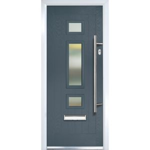 Image of Crystal 3 panel Frosted Glazed Grey Composite LH External Front Door set (H)2055mm (W)920mm