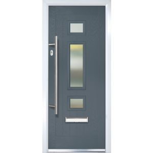 Image of Composite 3 panel Grey PVCu & GRP Glazed External Front door & frame RH (H)2055mm (W)920mm
