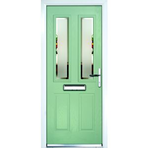 Image of Composite Green PVCu & GRP Glazed External Front Door & Frame Lh (H)2055mm (W)920mm