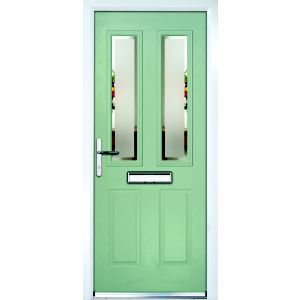 Image of Composite Green PVCu & GRP Glazed External Front Door & Frame Rh (H)2055mm (W)920mm