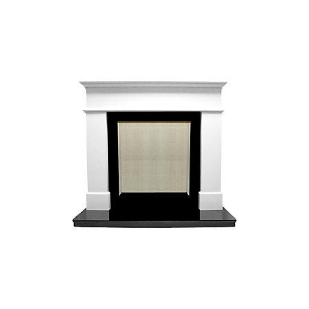 Warwick white micro marble fire surround set departments for White marble fire surround