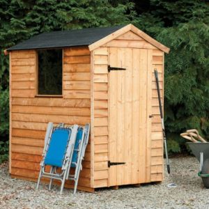 View Forest Garden 6X4 Plastic Roof Overlap Wood Shed - Assembly Required details