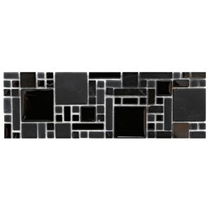 View Modular Mosaic Black Glass & Stone Border Tile, (L)298mm (W)97mm details