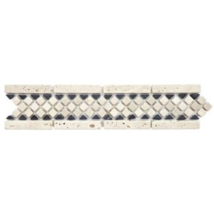 View Reptile Stone Stone & Grey Mosaic Ceramic Border Tile, (L)300mm (W)70mm details