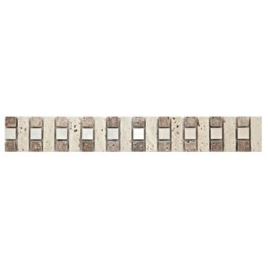 View Natural Mosaic Glass & Travertine Border Tile, (L)333mm (W)48mm details