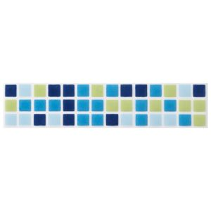 View Mini Mosaic Blue Ceramic Border Tile, (L)200mm (W)45mm details