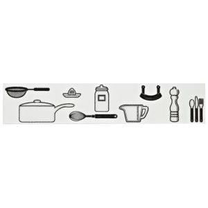 View Kitchen Utensil Black Ceramic Border Tile, (L)250mm (W)50mm details