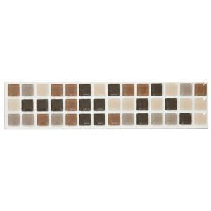View Mini Mosaic Taupe Ceramic Border Tile, (L)200mm (W)45mm details