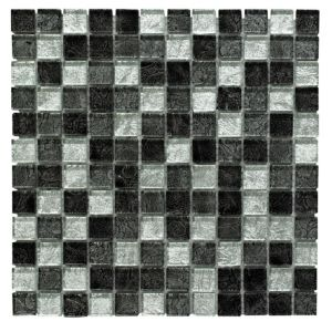 View Black Glass Mosaic Tile, (L)300mm (W)300mm details