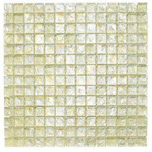 View Cream Mosaic Glass Mosaic Tile, (L)305mm (W)305mm details