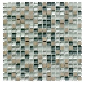 View Mini Stone/Glass Grey Glass & Stone Mosaic Tile, (L)300mm (W)300mm details