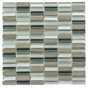 View Linear Grey Glass & Stone Mosaic Tile, (L)300mm (W)300mm details
