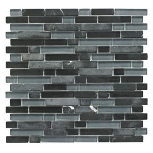 View Linear Black Glass & Stone Mosaic Tile, (L)300mm (W)308mm details