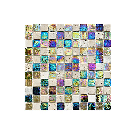 stone glass mosaic tile l 300mm w 300mm departments. Black Bedroom Furniture Sets. Home Design Ideas
