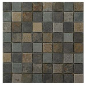 View Quartzite Slate Grey Slate Mosaic Tile, (L)305mm (W)305mm details