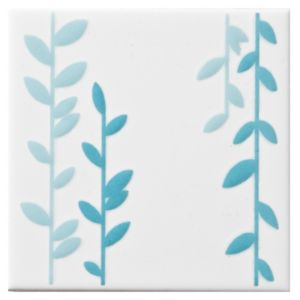 View Climbing Leaf Duck Egg Ceramic Wall Tile, (L)100mm (W)100mm details