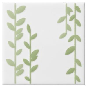 View Climbing Leaf Kiwi Ceramic Wall Tile, (L)100mm (W)100mm details