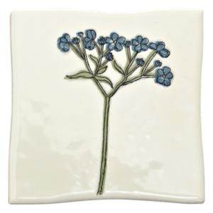 View Padstow Blue Botanical Ceramic Wall Tile, (L)100mm (W)100mm details