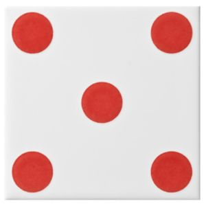 View Dice Spot Red Ceramic Wall Tile, (L)100mm (W)100mm details