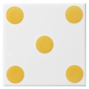 View Dice Spot Yellow Ceramic Wall Tile, (L)100mm (W)100mm details