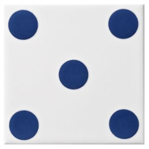 View Dice Spot Blue Ceramic Wall Tile, (L)100mm (W)100mm details