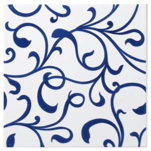 View Scroll Blue Ceramic Wall Tile, (L)200mm (W)200mm details