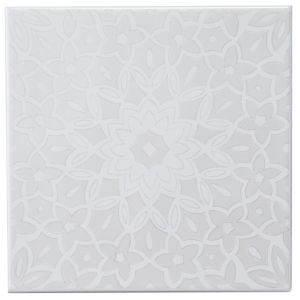 View Fleur Silver Eff Ceramic Wall Tile, (L)200mm (W)200mm details