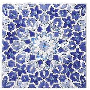 View Fleur Blue Ceramic Wall Tile, (L)200mm (W)200mm details