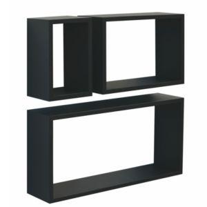 Image of Black Matt Cube shelving (L)600mm (D)300mm Pack of 3