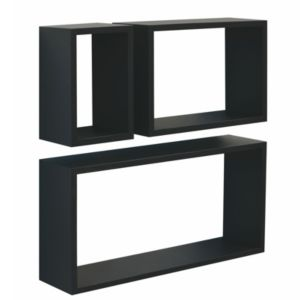 View Form Black Cube Shelving (L)600mm (D)117mm, Pack of 3 details