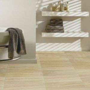 View Colours Leggiero Cream Travertine Tile Effect Laminate Flooring 1.72 sq.m Pack details