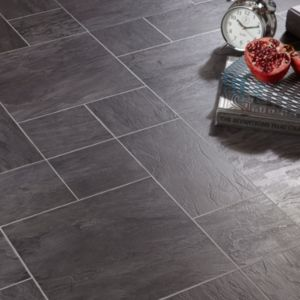 View Colours Libretto Black Slate Tile Effect Laminate Flooring details
