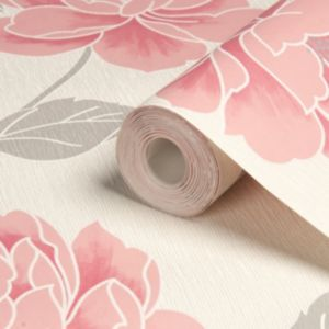 View Ella Floral Grey, Pink & White Wallpaper details