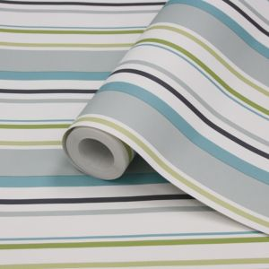 View Striped Strippes Blue, Black, Green & White Standard Non Woven Wallpaper details