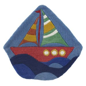 View Colours Dhania Blue & Red Boat Rug (L)900mm (W)880mm details