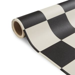 View Colours Tenora Black & White Tile Effect Vinyl 6m² Sheet details