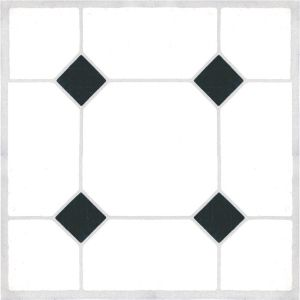 View Colours Circonia Black & White Tile Effect Self Adhesive Vinyl Tile Pack 0.6m² details