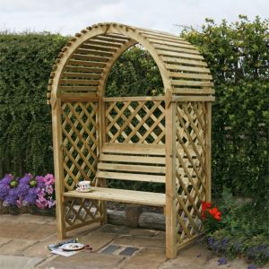 View Chiltern Wooden Round Top Arbour - Assembly Required details