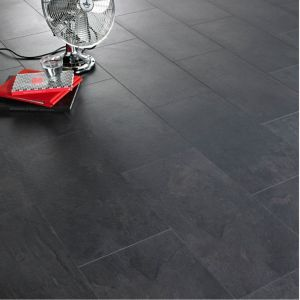 View Colours Harmonia Black Slate Tile Effect Laminate Flooring 2.05 sq.m Pack details