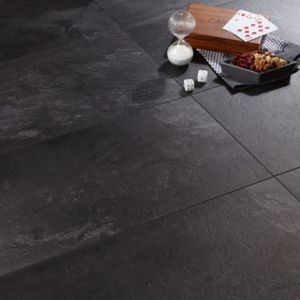 View Harmonia Black Slate Tile Effect Laminate Flooring 2.05 m² Pack details