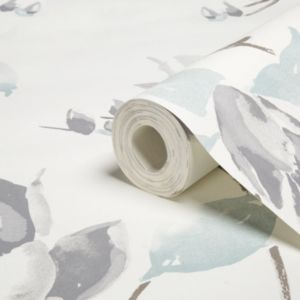 View Ava Floral Grey, Pale Green & White Wallpaper details