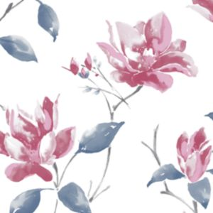 View Ava Blue, Pink & White Floral Wallpaper details