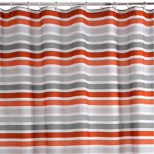 View Cooke & Lewis Grey & Red Hyale Stripe Shower Curtain details