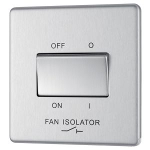 Image of Colours 10A Single Brushed steel Fan isolator switch