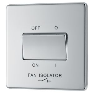 Image of Colours 10A Single Polished chrome Fan isolator switch
