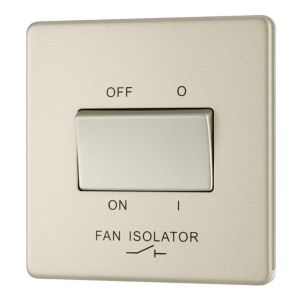 Image of Colours 10A 1-Way Single Pearl nickel Fan isolator switch
