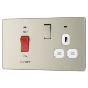 Image of Colours 45A Double polePearl nickel Cooker switch & socket