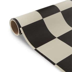 View Colours Tenora Black & White Tile Effect Vinyl 4m² Sheet details